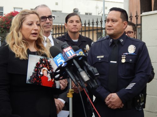 Isabelle Futsi appealed for the public's help in finding the driver who struck and killer her mother. She was joined by Councilman Mitch O'Farrell, 13th District, and Capt. Jonathan Tom, of the LAPD's Central Traffic Division. (photo by Edwin Folven)