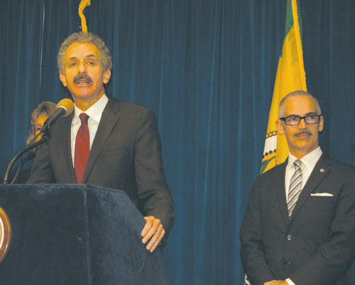 Los Angeles City Attorney Mike Feuer is encouraging additional reporting of hate crimes. He is pictured with Councilman Mitch O'Farrell, 13th District. (photo by Edwin Folven)