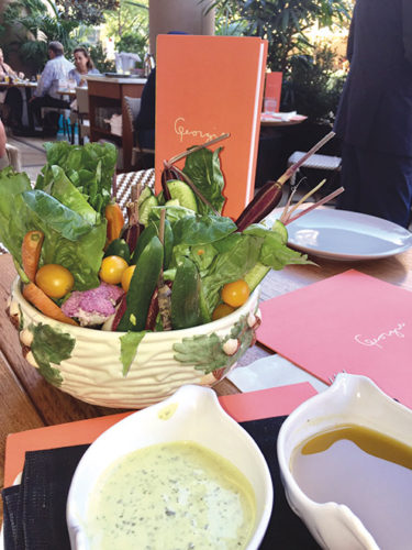 A bowl of colorful crudités is a lunch favorite at Georgie. (photo by Jill Weinlein)