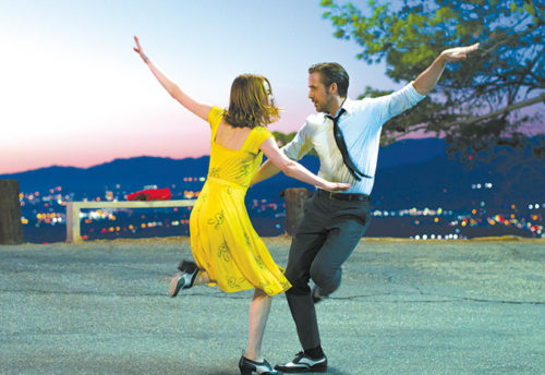 "Mia (Emma Stone) and Sebastian (Ryan Gosling) are filled with the joy of singing and dancing in the City of Angeles in ""La La Land."" (photo courtesy of Summit Entertainment)"