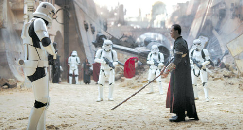 "Donny Yen, as Chirrut Îmwe, once protected a Jedi temple ransacked by the Empire in ""Rogue One: A Star Wars Story."" (photo courtesy of Disney Pictures)"