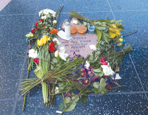 Fans created a makeshift Walk of Fame star for Carrie Fisher, and covered it with flowers and candles. (photo by Edwin Folven)