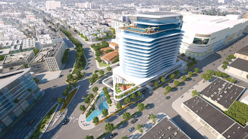 A rendering shows how the 333 La Cienega project would be situated near Burton Way, La Cienega Boulevard and San Vicente Boulevard under the current plan. Councilman Paul Koretz and some community members are asking that the height be reduced. (photo courtesy of Caruso Affiliated)