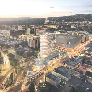 An updated rendering shows the latest configuration of the 333 La Cienega project. (photo courtesy of Caruso Affiliated)