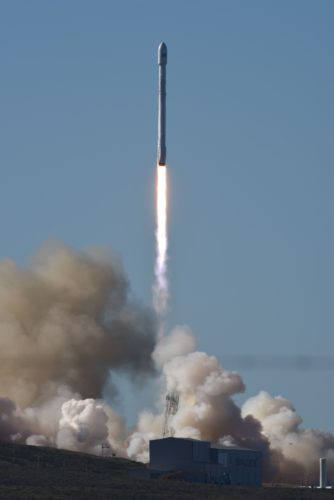 (courtesy of VAFB) The Falcon 9 rocket flies on its way to space on Jan. 14 above Vandenberg Air Force Base.