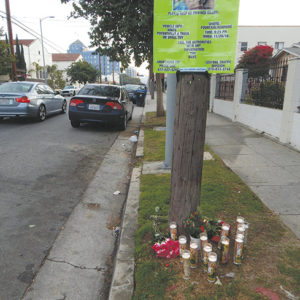 Family members created a memorail for Gabriela Futsi at the scene of the collision. (photo by Edwin Folven)