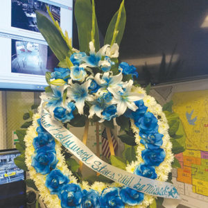 A wreath at the Hollywood Division commemorated Officer Mark Robinson and Sgt. Charles Slater. (photo courtesy of Officer Nicole Montgomery)