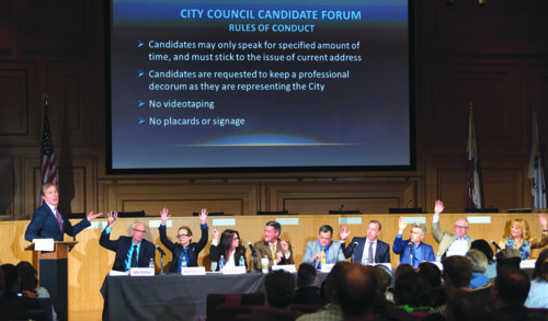 Nine candidates debated how West Hollywood should evolve and grow at a forum hosted by the West Hollywood Chamber of Commerce. (photo by Jon Viscott)