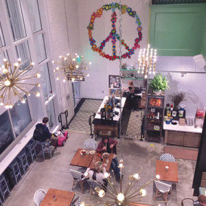 Flower Child's light and airy atmosephere is a bright spot to enjoy a healthy lunch or dinner. (photo by Jill Weinlein)