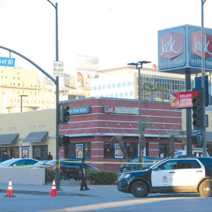 The suspect stabbed customers in the Jack in the Box restaurant near Ivar Avenue and Sunset Boulevard. (photo by Gregory Cornfield)