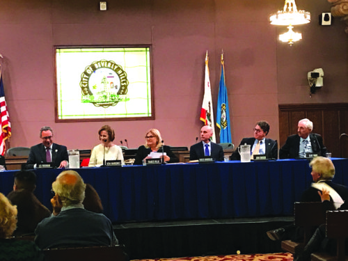 Candidates for Beverly Hills City Council debate issues at a forum at city hall. (photo by Luke Harold)