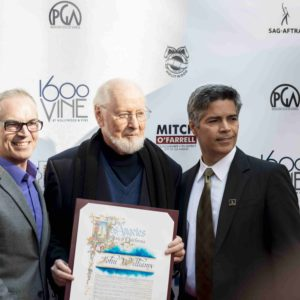 (From left) Councilman Mitch O'Farrell, 13th District, composer and conductor John Williams and actor and SAG-AFTRA Los Angeles Local Vice President Esai Morales attended the event last year when Williams was honored for his lifetime contributions to Hollywood. (photo courtesy of Guttman Associates PR & Marketing)