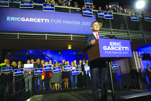 Mayor Eric Garcetti addresses supporters at an election day rally after early results showed a commanding lead to retain his spot in office. (photo courtesy of Eric Garcetti's campaign)