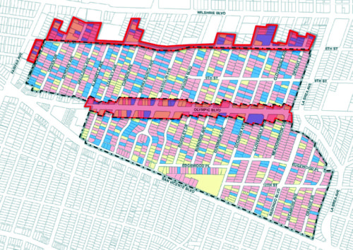 The above map shows the boundaries for the Miracle Mile HPOZ. The darker shaded areas were excluded by the Planning Commission. (courtesy of the city of Los Angeles)