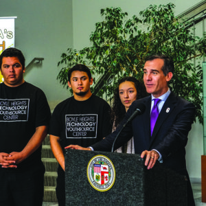 (photo courtesy of the Mayor's Office) Mayor Eric Garcetti announces that the city hit its goal 15,000 youth jobs, set last year.