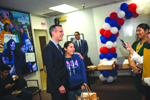 Mayor Eric Garcetti last week showed solidarity with walk-ins at CHIRLA receiving legal counseling. (photo courtesy of the mayor's office)