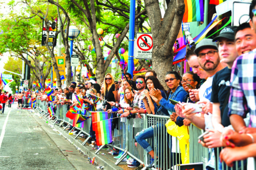 Revelers in 2016 celebrate the annual Pride parade in West Hollywood. (photo courtesy of the city of West Hollywood)