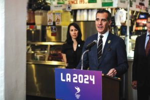 After almost two years of pitching the city of Los Angeles as the best host city for 2024, Mayor Eric Garcetti and other members of LA 2024 might have to consider hosting the 2028 Games. photo courtesy of (Mayor Eric Garcetti's office)