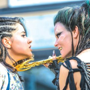 "Becky G as ""Trini"" and Elizabeth Banks as ""Rita Repulsa"" in Saban's Power Rangers. (photo by Kimberley French)"