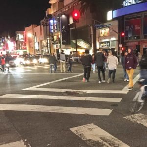 A scramble crosswalk at the intersection of Hollywood Boulevard and Highland Avenue is part of the city's Vision Zero program. (photo by Luke Harold)