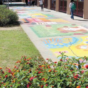 The Chalk Art Festival at Fairfax High School has the campus blooming with springtime color. (photo by Yohan Yoon)