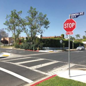 Formosa Avenue and Clinton Street was the fifth intersection where stop signs were recently installed in neighborhoods within the Mid City West council's boundaries. (photo by Gregory Cornfield)