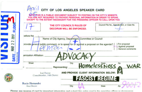 At an April 5 Housing Committee meeting, someone in the audience turned in a card with drawings of KKK hoods. (courtesy of L.A. City Hall)