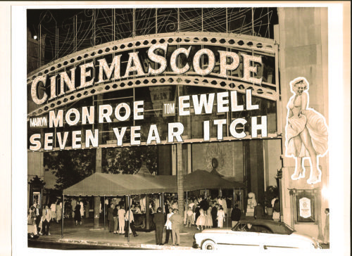 """Grauman's Chinese Theatre gets ready for the premiere of """"Seven Year Itch"""" in 1955. (photos courtesy of the TCL Chinese Theatre)"""