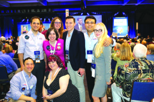 Miracle Mile Democratic Club members (bottom left to right) Steve Bott and Amanda Hyde, and (top left to right) Michael Kapp, Ilissa Gold, Maya Wax Cavallaro, Estevan Montemayor, Gus Sustaita, and Julie Stromberg attended the state's Democratic Party Convention. (photo courtesy of Julie Stromberg)