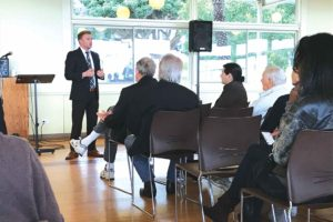 Deputy City Attorney Steve Houchin spoke to residents about his role in the community at the forum. (photo by Luke Harold)