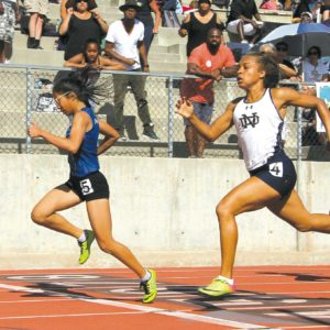 Immaculate Heart junior Leah Domantay won the 100-meter race in Mission League finals last week. Domantay won the same event last year in the Sunshine League. (photo courtesy of Callie Webb/Immaculate Heart)