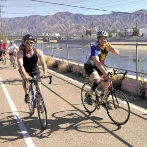 "Councilman Mitch O'Farrell (left) rode in ""Finish the Ride"" last week with Damian Kevitt, the event's organizer. Kevitt was struck and severely injured by a hit-and-run driver in Griffith Park in 2013. (photo courtesy of the 13th Council District Office)"
