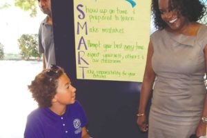 LAUSD Superintendent Michelle King welcomed students during a tour of campuses throughout the city on the first day of the school year.  (photo by Edwin Folven)