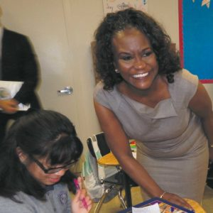 LAUSD superintendent Michelle King visited students at the Girls Academic Leadership Academy (GALA)  on the Los Angeles High School campus on the first day of school in 2016. (photo by Edwin Folven)
