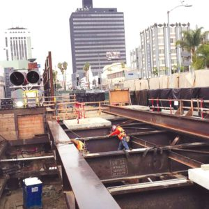 Crews continue to work on the subway station near Wilshire Boulevard and La Brea Avenue. (photo by Gregory Cornfield)