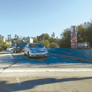 The stabbing occurred near the Hollywood Boulevard offramp from the southbound Hollywood (101) Freeway. (photo by Edwin Folven)