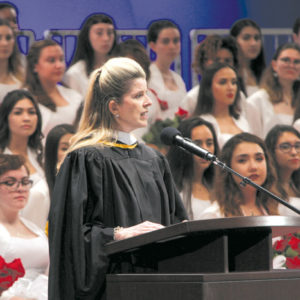 LAPD Assistant Chief and Director of the Office of Special Operations Beatrice Girmala, a member of Immaculate Heart's class of 1981, was the commencement speaker at the school's 2017 graduation ceremony. photo by John Dlugolecki