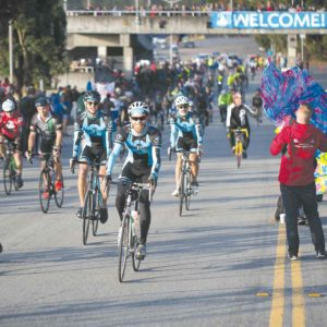 Riders embarked last Sunday on the annual AIDS/LifeCycle, which raises funds for services for people with HIV/AIDS. The riders will cross the finish line at Fairfax High School on Saturday. (photo by Elizabeth Minor)