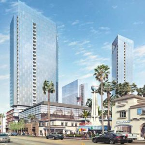 A rendering shows the Crossroads Hollywood project proposed on Sunset Boulevard around the iconic Crossroads of the World complex. The Crossroads of the World project was originally built in 1936. (photo courtesy of crossroadshollywood.com)
