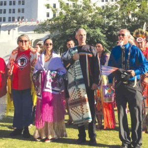Councilman Mitch O'Farrell (center), a member of the Wyandotte Native American tribe, is calling for the City Council to replace Columbus Day with Indigenous Peoples Day. (photo courtesy of the 13th Council District Office)