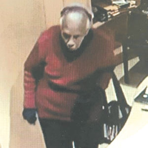 A security camera photograph shows the suspect entering an office on Roxbury Drive. (photo courtesy of BHPD)