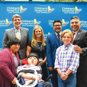 Rep. Tony Cardenas (right) joined Children's Hospital Los Angeles to oppose potential health care cuts. (photo courtesy of Children's Hospital Los Angeles)