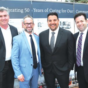 (From left) David Eilenberg, president of ITV Entertainment; Hayden Mayer, APA partner; Cris Abrego, chairman of Endemol Shine Americas and CEO of Endemol Shine North America; and Marc Kemler, APA partner attended the June 6 event. (photo courtesy of Saban Community Clinic)
