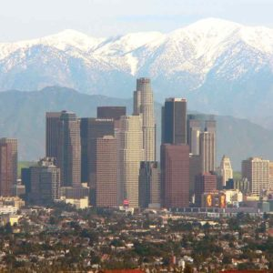 The San Gabriel Mountains provide a backdrop to the city of Los Angeles. (photo courtesy of the United States Department of Agriculture)