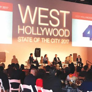 The annual state of the city this year included a panel discussion about the future of transportation. (photo by Luke Harold)