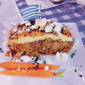 Pastitsio is made the traditional Greek way at Delphi Greek in Westwood. (photo by Jill Weinlein)