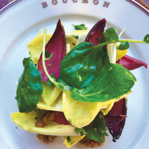 The colorful endive and watercress salad is a cool offering for a warm summer day. (photo by Jill Weinlein)