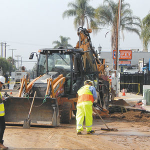 The water main rupture Monday on Cahuenga Boulevard affected 20 nearby residences. (photo by Edwin Folven)