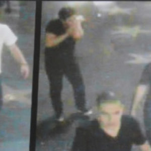 A security camera captured images of the suspects allegedly involved in a 2013 attack on a transgender woman in Hollywood. One defendant is scheduled to appear in court on July 10 for pretrial proceedings. (photo courtesy of the LAPD)