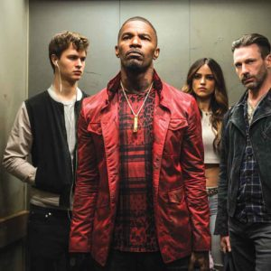 From left, Baby (Ansel Elgort), Bats (Jamie Foxx), Darling (Eiza Gonzalez) and Buddy (Jon Hamm) decide to attempt the heist. (photo courtesy of Columbia Pictures)